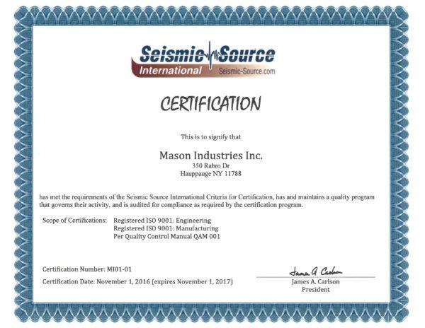 Certifications | Mason Industries